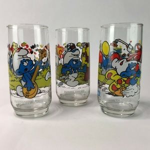 "Lot Of 3 Vintage 1983 Wallace Berrie ""Smurf"" Glass"